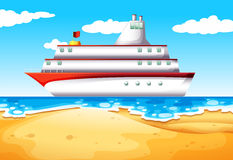 A ship at the beach. Illustration of a ship at the beach Stock Photography
