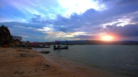 Ship at the beach with twilight sky in Koh Samui,. HD. 1920x1080 stock footage