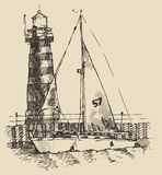 Ship and beacon vintage engraved illustration Stock Photo