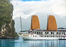 Ship in beautiful Halong bay, Vietnam, Asia. Royalty Free Stock Photos