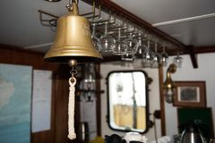 Ship´s bell - used for diffrent calls, like warnings calls for meals and making alert if there is anything interesting to watch stock images
