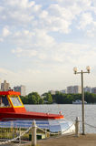 The ship is at berth. A pleasure boat on the river Royalty Free Stock Photo