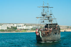 Ship the Black Pearl in Agia-Napa, Cyprus  Royalty Free Stock Photo