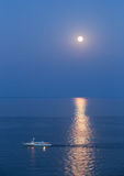 Ship in Black Sea at moonlight night Stock Photography
