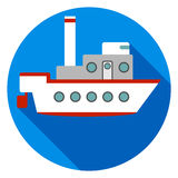 Ship on a blue background with a shadow vector illustration