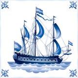 Ship on the Blue Dutch tile 4, battleship. Glazed porcelain ceramic, PATTERN, a Sailing vessel with a totality of sails stock illustration