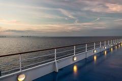 Ship board in miami, usa in blue sea on evening sky. Shipboard on idyllic seascape. Water travel, voyage, journey. Summer vacation. Wanderlust. Adventure Stock Image