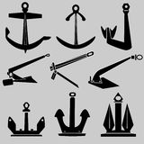 Ship and boat anchors in vector silhouette. Set of various ship and boat anchors in detailed vector silhouette Royalty Free Stock Photo