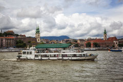 Ship. Boat crossing the Danube river, Budapest, Hungary Royalty Free Stock Photos