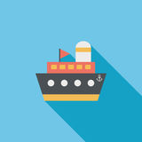 Ship, boat flat icon with long shadow. Cartoon vector illustration royalty free illustration