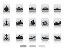 Ship boat icon buttons set Royalty Free Stock Photography