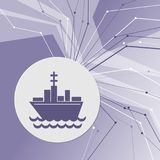 Ship boat icon on purple abstract modern background. The lines in all directions. With room for your advertising. Vector Illustration