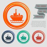 Ship boat icon on the red, blue, green, orange buttons for your website and design with space text. Stock Illustration