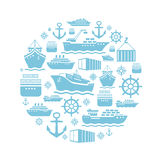 Ship and boat icons background. transportation Royalty Free Stock Photos