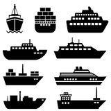 Ship and boat icons. Ship and boat icon set Stock Photo