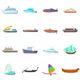 Ship and boat icons set, cartoon style Stock Photo