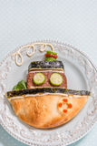 Ship boat pita bread with burger cutlet for kids lunch Royalty Free Stock Images