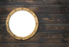 Ship or boat porthole frame on wooden wall 3d illustration. Ship porthole frame on wooden wall Stock Photo