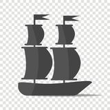 Ship, boat. Sail ship. Layers grouped for easy editing illustration.  For your design Stock Images