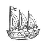 Ship, boat, sailboat, hand drawn engraving sketch vector nautical illustration. Stock Photos