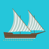 Ship boat sea frigate symbol vessel travel industry vector sailboats cruise of marine icon Stock Photos