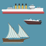 Ship boat sea symbol vessel travel industry vector sailboats cruise set of marine icon Stock Photo