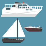 Ship boat sea symbol vessel travel industry vector sailboats cruise set of marine icon Stock Photography