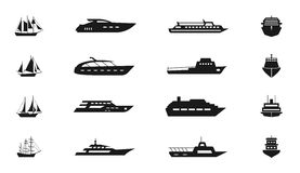 Ship and boat vector icon set Royalty Free Stock Images