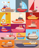 Ship and boat. Vector illustration. Maritime vessel Royalty Free Stock Photo