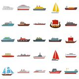Ship and boats icons set, flat style. Ship and boats icons set. Flat illustration of 25 ship and boats vector icons isolated on white background Royalty Free Stock Images