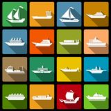 Ship and boats icons set flat Stock Image
