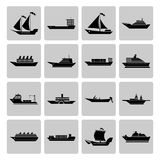 Ship and Boats Icons Set Stock Image
