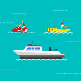 Ship and boats vector. Stock Photography