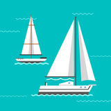 Ship and boats vector. Stock Image