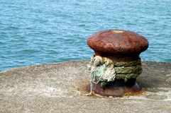 Ship bollard in a habour Stock Photo