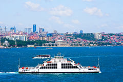 Ship is on the Bosphorus. At Istanbul background eregovoy line Stock Image