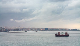 Ship in Bosporus gulf Royalty Free Stock Photography
