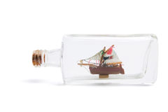 Ship in a Bottle. On White Background Stock Image