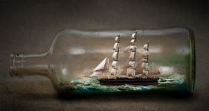 Ship in a bottle stock photo