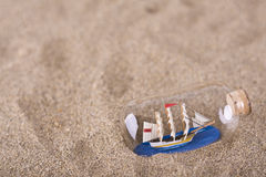 Ship in the bottle on the beach Stock Images