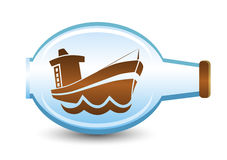 Ship in the bottle. Cartoon theme illustration Stock Image