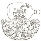 Ship in bottle floating on the wavy sea for coloring page. Black and white fantasy art in zentangle style. Vector illustration Royalty Free Stock Images