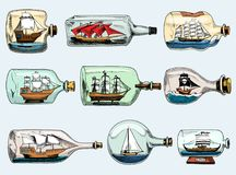 Ship in bottle vector boat in miniature gifted sail. Souvenir in glass sailboat with cork or shipping in flask isolated on the white background stock illustration