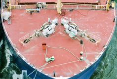 Ship bow with anchors closeup Royalty Free Stock Photography