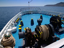 Ship bow and gear. In mediterranean sea Stock Photography