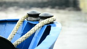 Ship bow with mooring lines