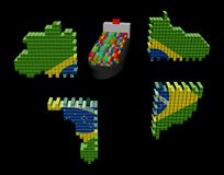 Ship and Brazil containers map flag Stock Images
