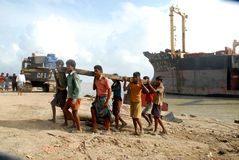 Ship breaking in Bangladesh Royalty Free Stock Images