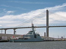 Ship & bridge. Ship and Talmadge Bridge in Savannah Georgia Stock Photo