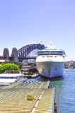 Ship ,bridge and Harbour. Ships and Harbour bridge  in Sydney, Australia Stock Images